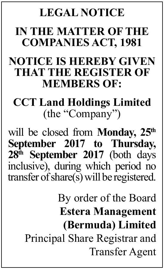 CCT Land Holding Limited (the