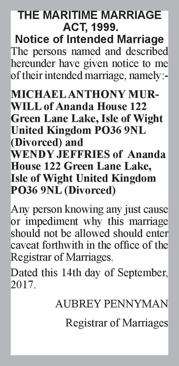 MICHAEL ANTHONY MURWILL of Ananda House 122 Green Lane Lake, Isle of Wight United Kingdom PO36 9NL (Divorced) WENDY JEFFRIES of  Ananda House 122 Green Lane Lake, Isle of Wight United Kingdom PO36 9NL (Divorced) 14th September 2017