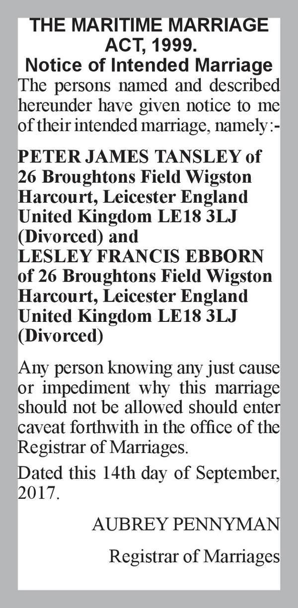 PETER JAMES TANSLEY of 26 Broughtons Field Wigston Harcourt, Leicester England United Kingdom LE18 3LJ (Divorced) LESLEY FRANCIS EBBORN of 26 Broughtons Field Wigston Harcourt, Leicester England United Kingdom LE18 3LJ (Divorced) 14th September 2017