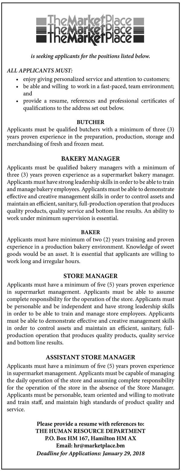 Butcher, Bakery Manager, Baker, Store Manager and Assistant Store Manager