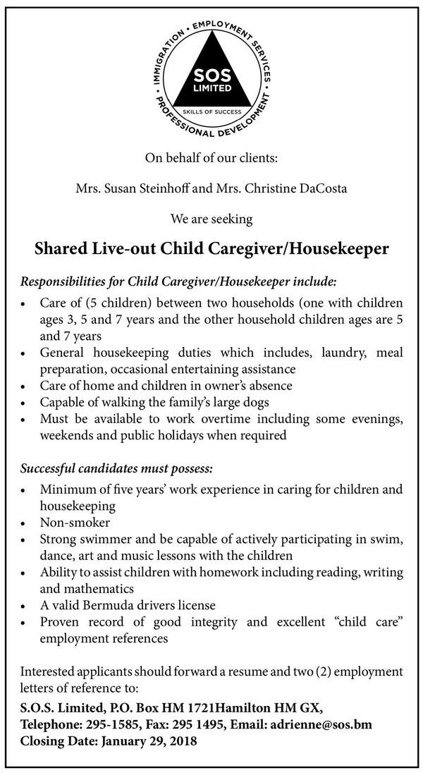 Shared live Out Child Care Giver Housekeeper
