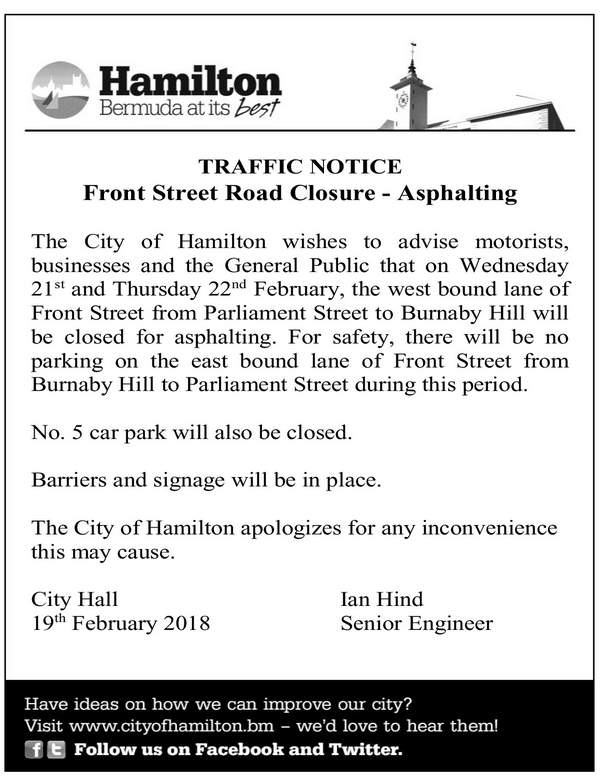 Traffic Notice - Front Street Road Closure - Asphalting