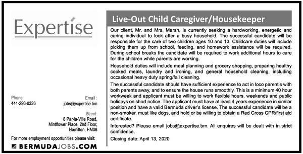 Live-Out Child Caregiver/Housekeeper
