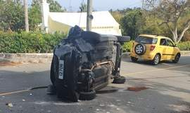 Driver in hospital after car rolls